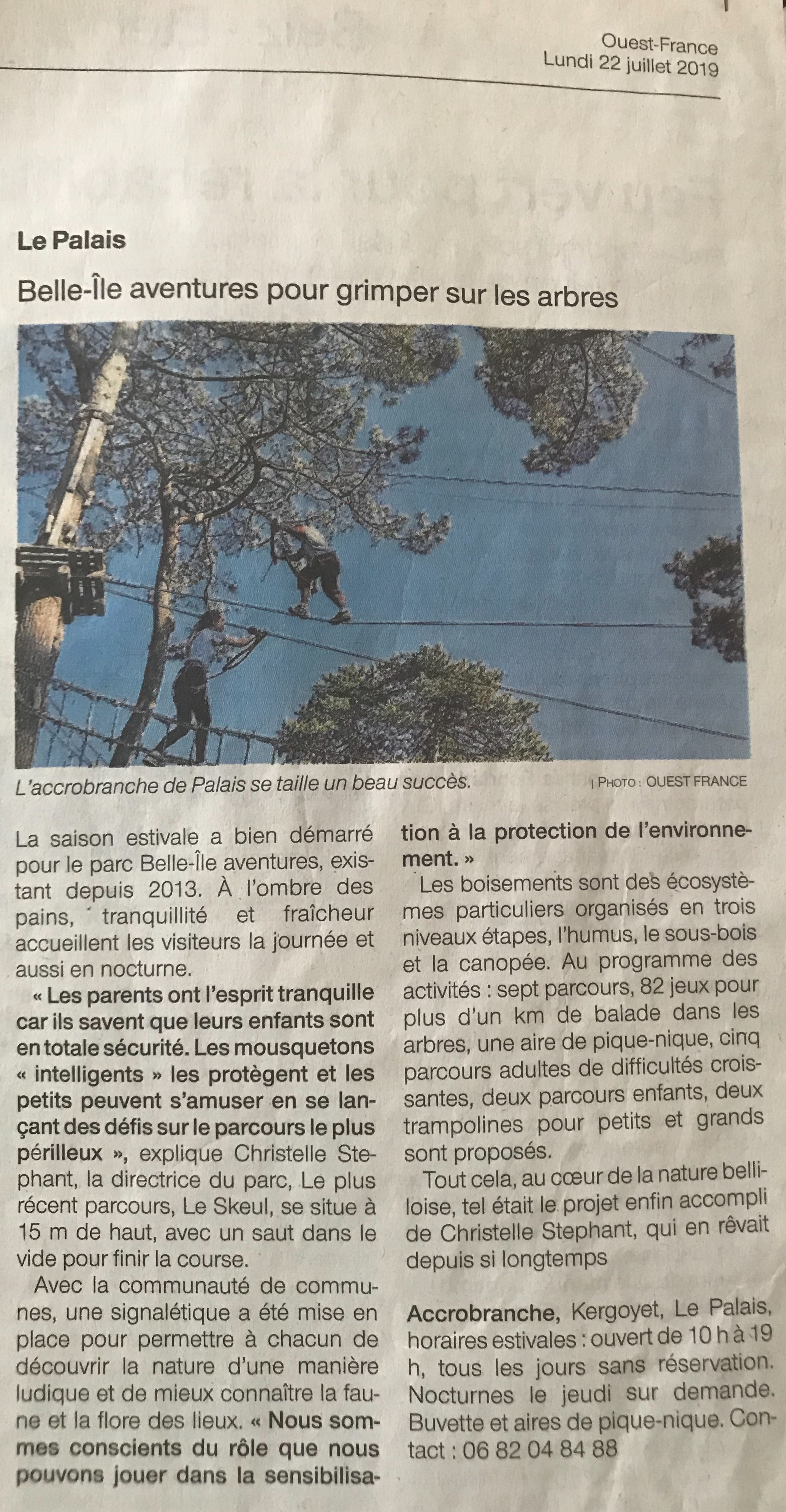 Article Ouest france 2019